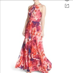 Eliza J Floral printed halter dress
